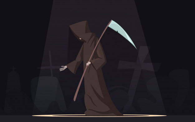 death with scythe traditional black hooded grim reaper symbolic figure spotlight dark background 1284 16151