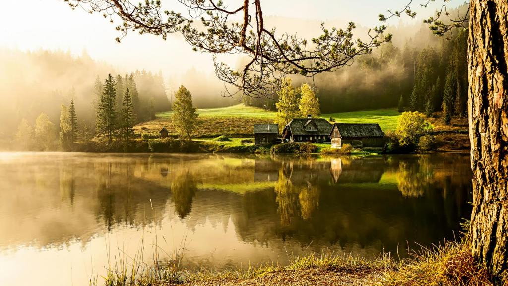 country house lake morning quiet beautiful scenery mood