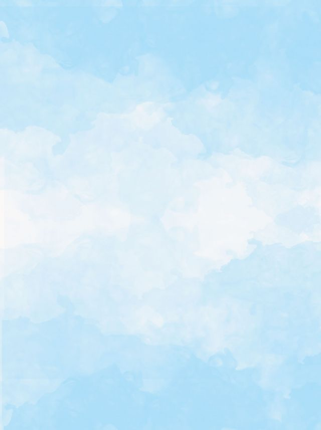 Blue Sky White Clouds Splashes Of Watercolor Background